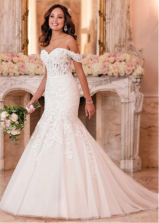 Magbridal Alluring Tulle Off-the-shoulder Neckline Mermaid Wedding Dress With La…