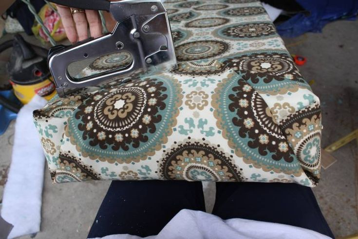 """Love this tutorial on the """"wrap & staple"""" method of covering your camper cushions.  Great way to cover cushions without sewing a stitch."""