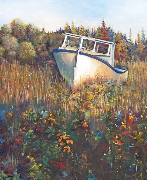 Big John's old fishing boat in the Evangeline Acadian region on Prince Edward Island.