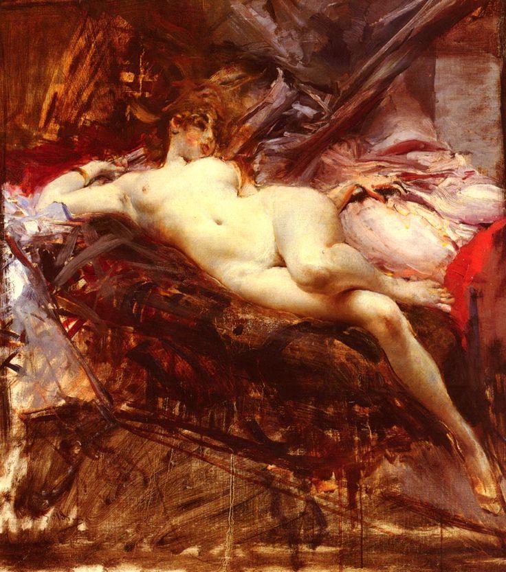 "Giovanni Boldini (1842-1931) Reclining Nude Oil on canvas  74 x 65 cm (29"" x 25½"") Private collection"