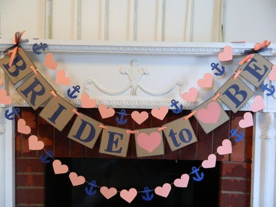 Bridal Shower Decorations - Coral and Navy Bride To Be Banner -  Bachelorette Party decor - CUSTOMIZE YOUR COLORS