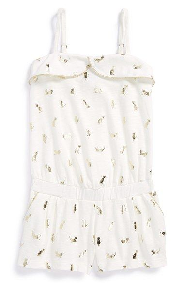 Little kitty print! Too cute! LITTLE+MARC+JACOBS+Cotton+Jersey+Romper+(Toddler+Girls,+Little+Girls+&+Big+Girls)+available+at+#Nordstrom