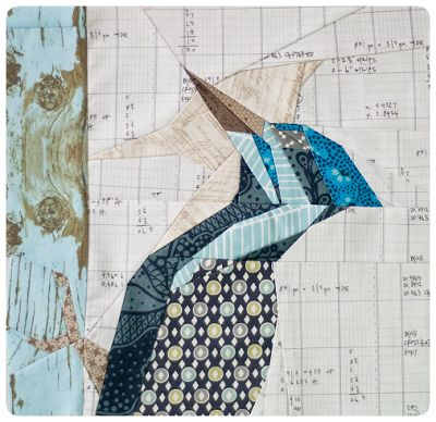 Free woodpecker bird quilt pattern - one of a list of Paper Piecing Quilt Patterns, Animals and Flowers
