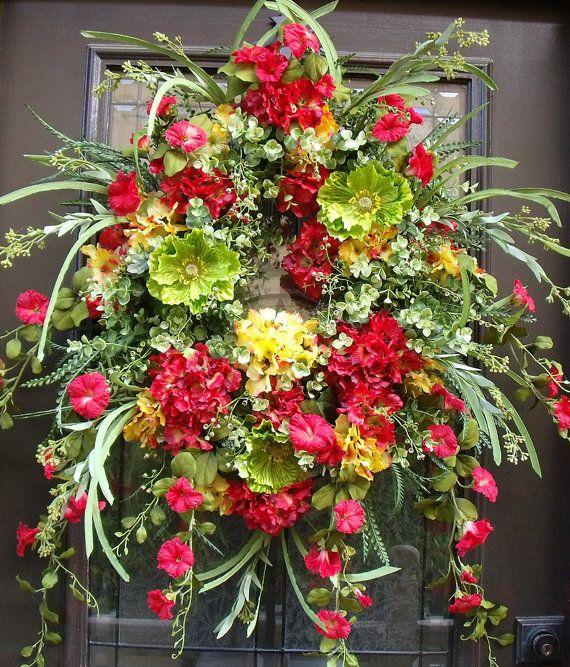 Summer Door Wreath, Hydrangea Wreath, Wreath For Door, Spring Wreath, Wild Red and Yellow Wreaths, Summer Wreath