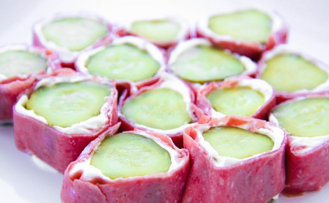Pickle roll-ups - Love these! But I usually use turkey lunch meat.  Also, I put them in the freezer for a bit before cutting them, it helps keep them from falling apart.