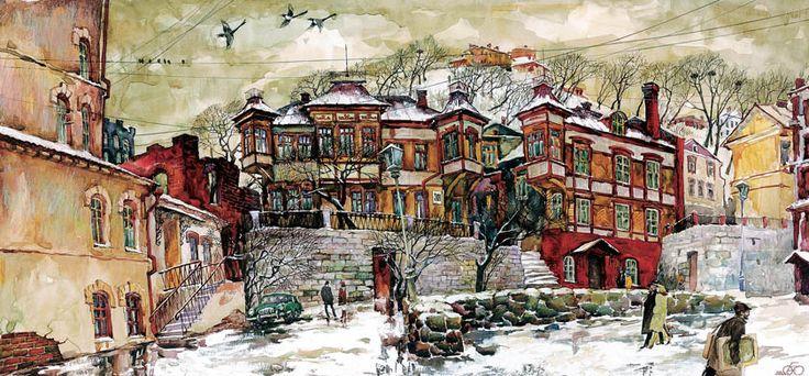 Евгений и Оксана Осиповы. Дом №39, бумага,смешанная техника. Городской пейзаж. Владивосток.