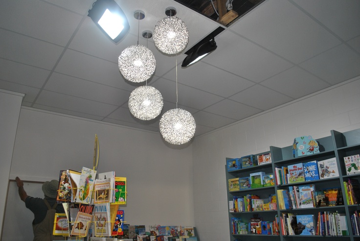 To compliment the Squiggle pendants, we also installed 65w LED Flood lights which use a lot less electricity than the 150w globes that were previously installed, but still light the space well.
