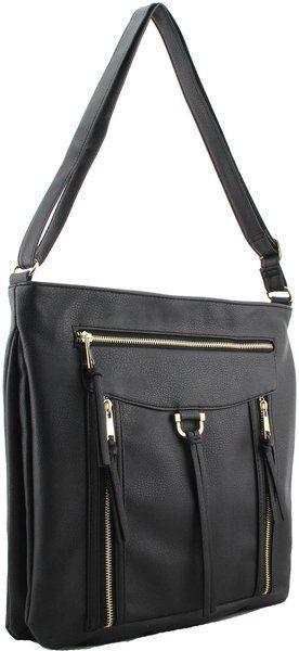 Black Large Cross Body Shoulder Faux Leather Handbag