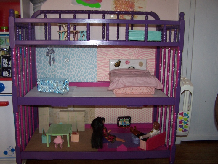 doll house made from old changing table with hand and