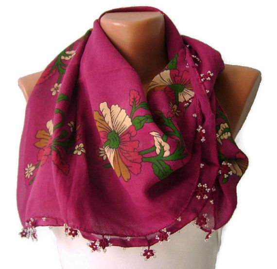 Turkish Bride Dowry Oya Pink Scarf, Hand Painting, Square,Hand Crocheted Lace, Ethnic