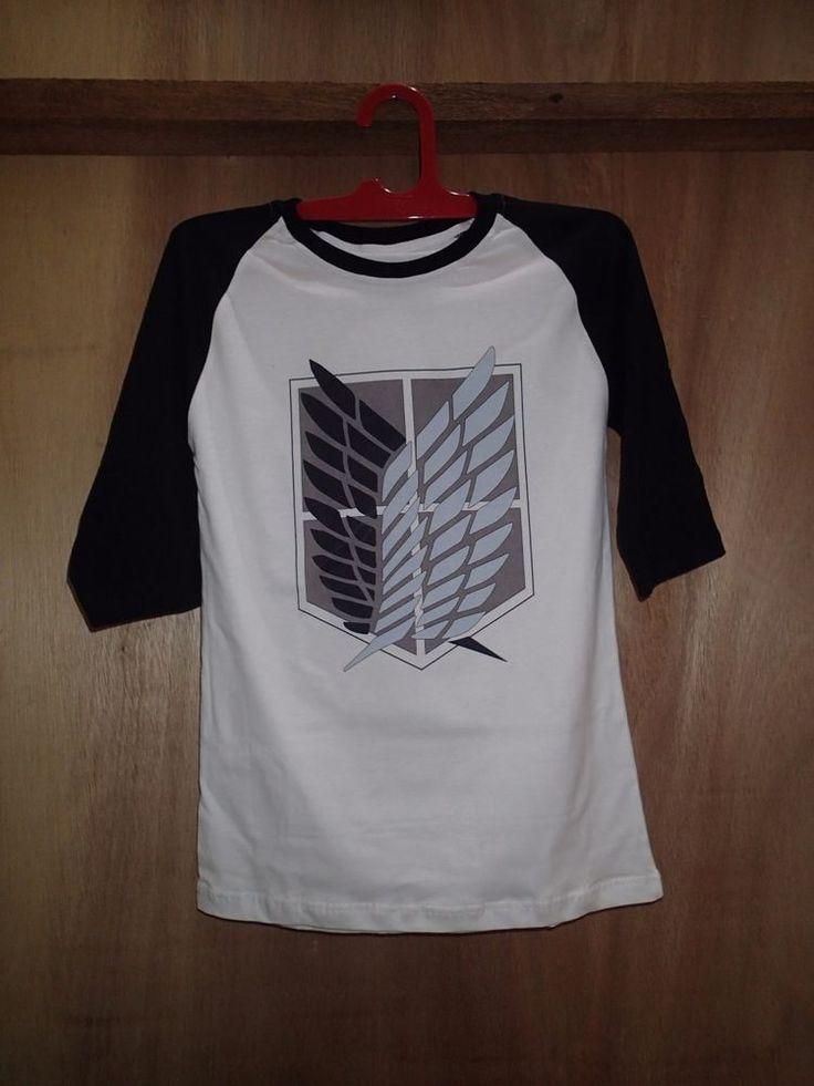 attack on titan shirt t-shirt logo corps legion scouting symbol raglan baseball #Unbranded