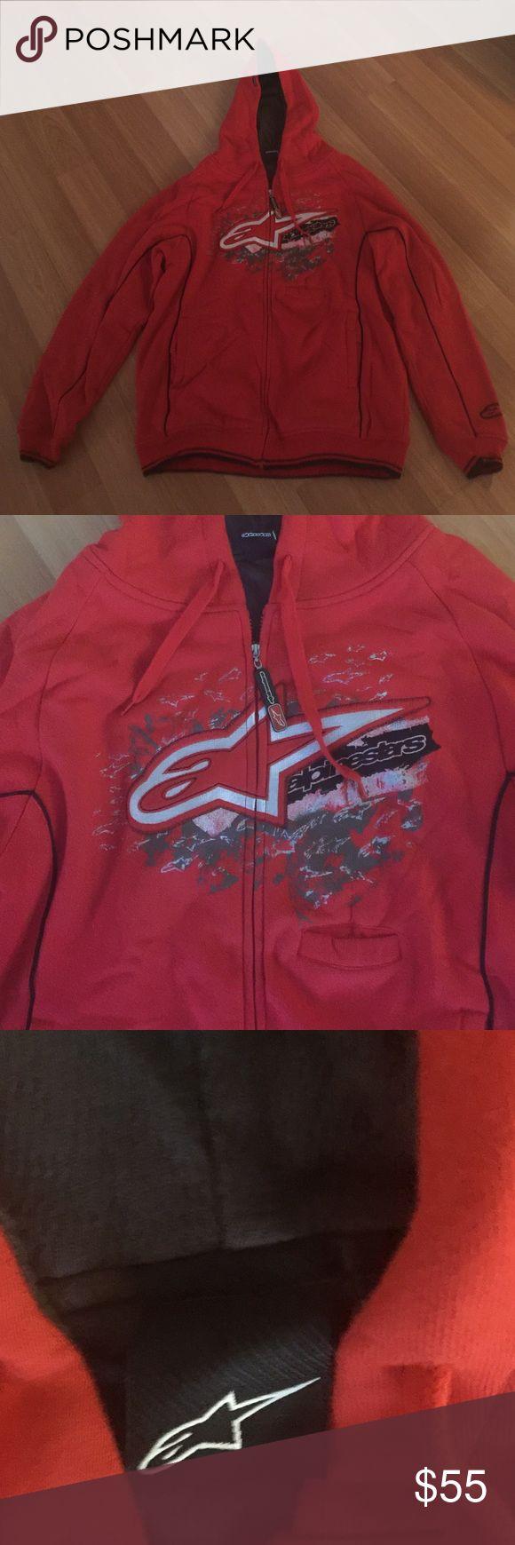 Men's Alpinestars red zip up fleece hoody Men's Alpinestars red zip up fleece hoody motocross sweatshirt Alpinestars Sweaters Zip Up