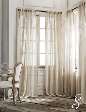 Burlap Curtains - would work well outdoor over balcony as well & more of a rustic look