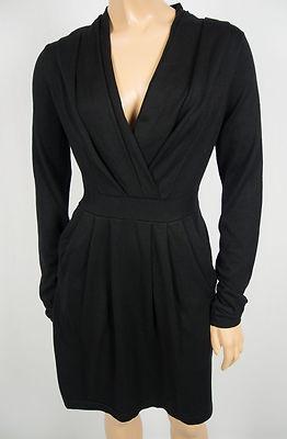 BCBG MAX AZRIA Black Knit Dress M Silk Blend Deep Drop Front Long Sleeve Pockets