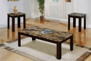White Faux Marble Coffee Table Set