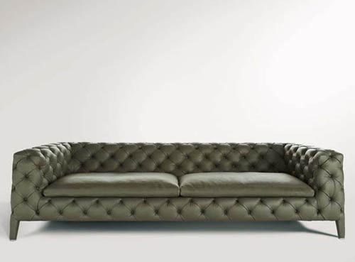 Elegant And Classic Leather Sofa By Arketipo