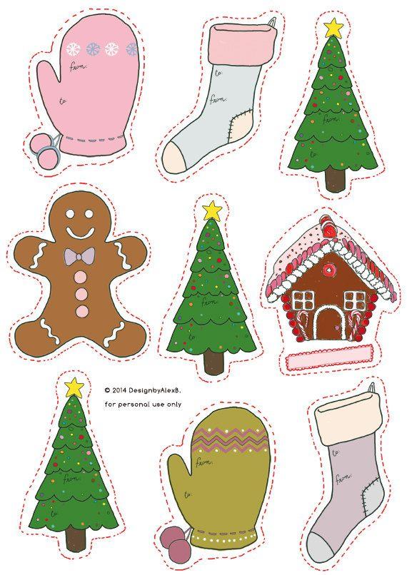 Digital Christmas Labels Set Printable Christmas di DesignbyAlexB