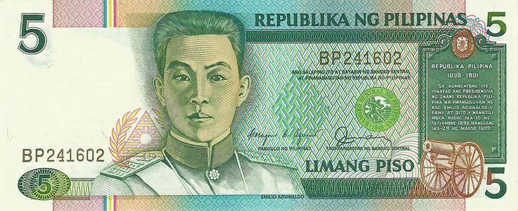 Philippine Peso Banknotes (New Design Series Five-Peso Banknote).  this is my most favorite of all Philippine peso bills because of its design. This is one of my personal numismatic collection.