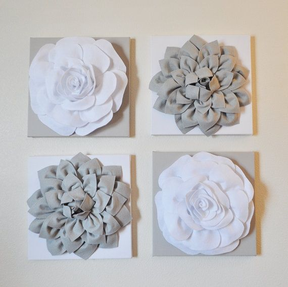 Wall Decor For White Walls : Wall decor set of four gray and white flower
