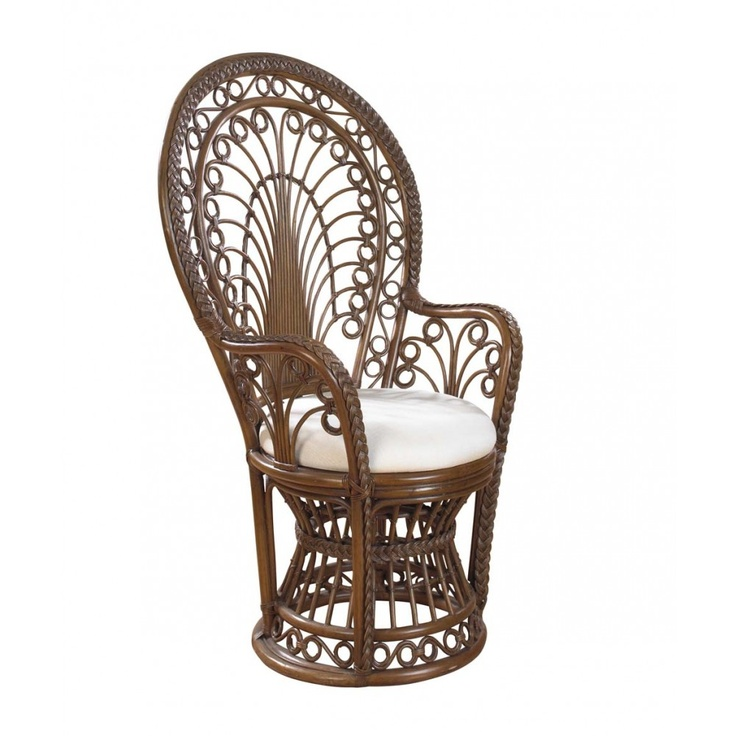 Rattan Shack Rattan Peacock Chair Rattan with cushion in Antique Finish | Wicker & Rattan Indoor Furniture