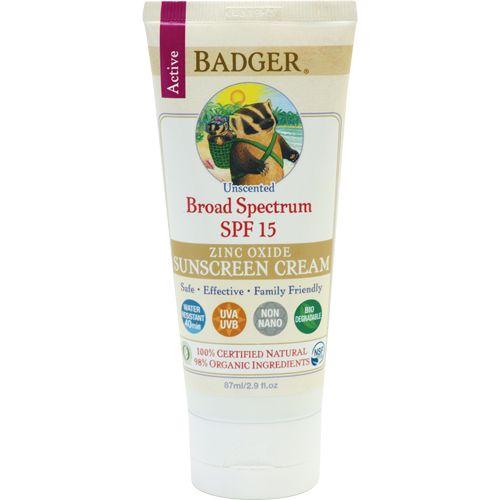 Badger Sunscreen Cream, Unscented, SPF 15 || Skin Deep® Cosmetics Database | EWG