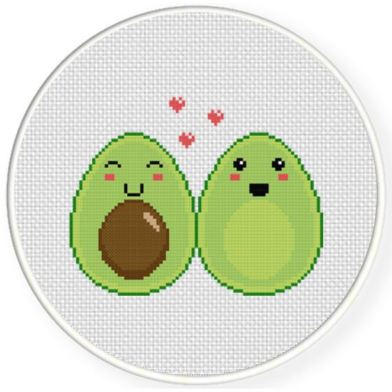 Charts Club Members Only: Avocado Halves Cross Stitch Pattern