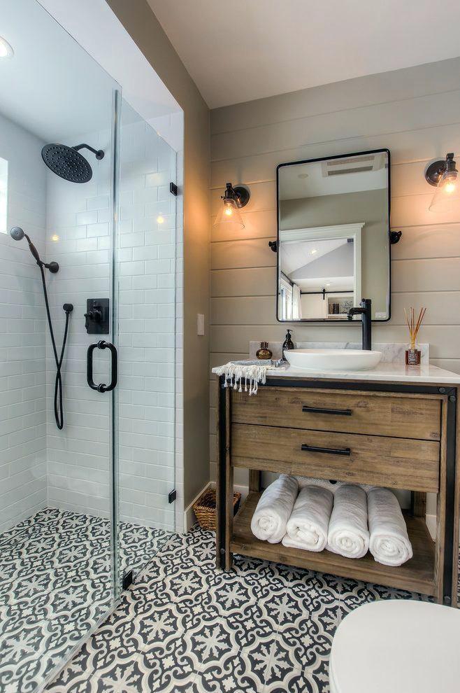 bathroom vanity tile farmhouse bathroom vanity powder room with wall mount faucet contemporary sconces bathroom vanity tile ideas #wallsconcescontemporary #wallsconcesideas #tilebathrooms #farmhousebathroomideas #bathroomfaucets