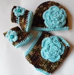 Crochet Camouflage Diaper Cover Set Turquoise Flowers Beanie Hat Flower Booties Camo Diaper Cover, Newborn Hat, Baby Hat by theshimmeringrose