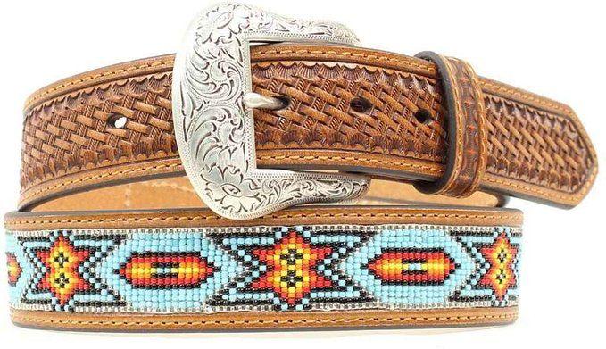 Nocona Men's Beaded Inlay Leather Belt