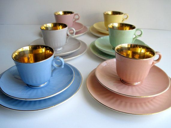 Figgjo Flint Coffee Set with Cake plates, Pastel and Gold Demitasse , Norway Reserved DO NOT buy .