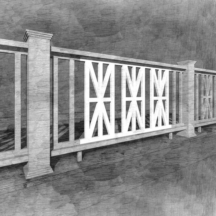 The Jackson Panel is a classic design, faintly reminiscent of The Union Jack! This design is best suited for full panel installations and can be combined with the Picket Panel or butted up next to each other to complete rail sections exceeding 48' spans. This panel was designed to be used for porch and deck railings with a finished height of 36'. The Porch Store custom panels have the body and substance of wood without the character flaws or necessary maintenance. They are made fro...