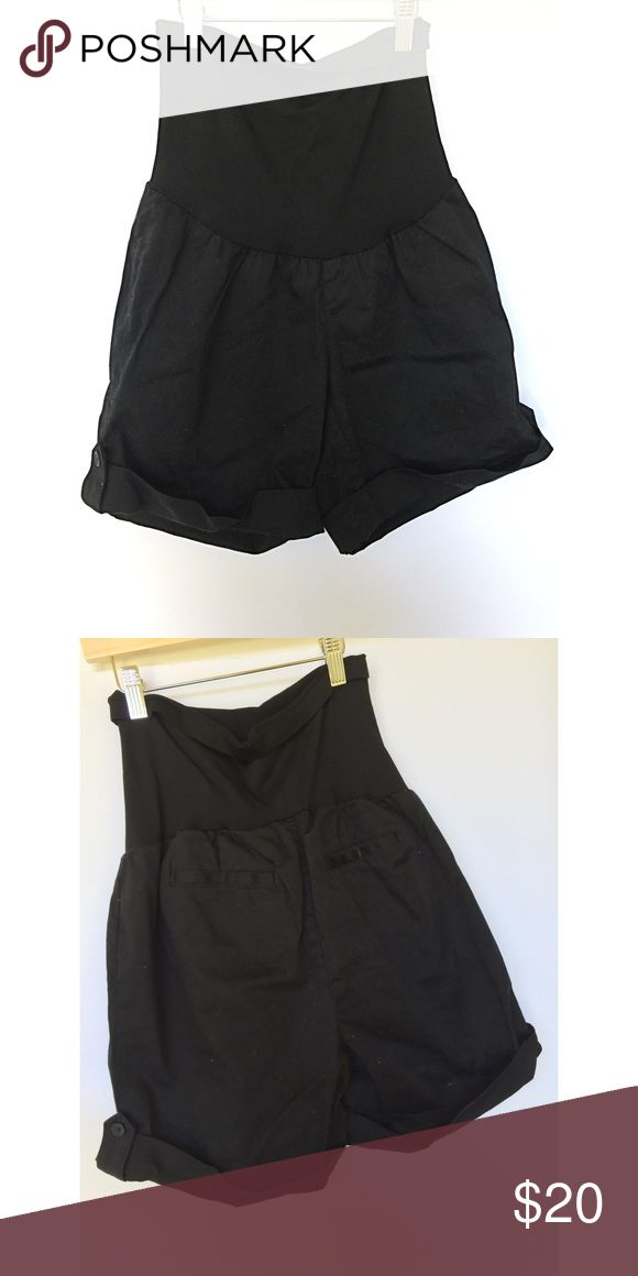 Black Motherhood maternity shorts Full panel black cuffed shorts. These are in great shape. I'd say these best fit a size 6-8 pre baby bump. Motherhood Maternity Shorts