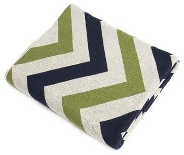 Navy/Green/Ivory Chevron Cotton Blanket transitional-bedroom-products