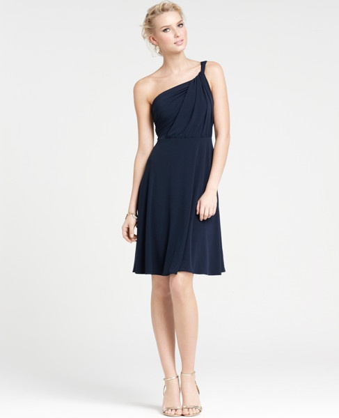 """OMG LOVE!     Jersey One Shoulder Bridesmaid Dress$150  In a refreshingly refined twist, our flowy one shoulder dress flaunts a fluid drape and beautifully shirred bodice for beyond-flattering effect. Sleeveless. Hidden side zipper with hook-and-eye closure. Lined. 23"""" from natural waist."""