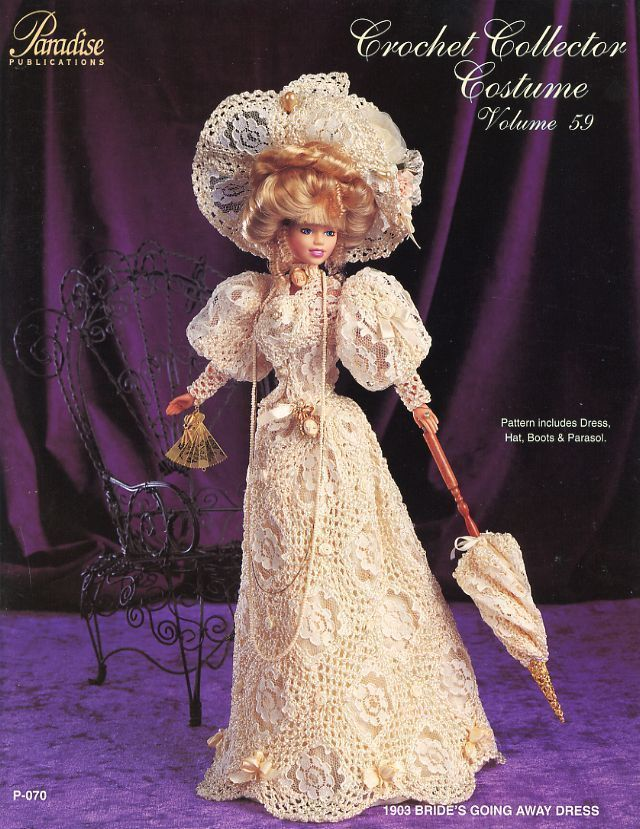 1903 Bride's Going Away Dress for Barbie Doll Paradise #59 Crochet PATTERN - so intricate.