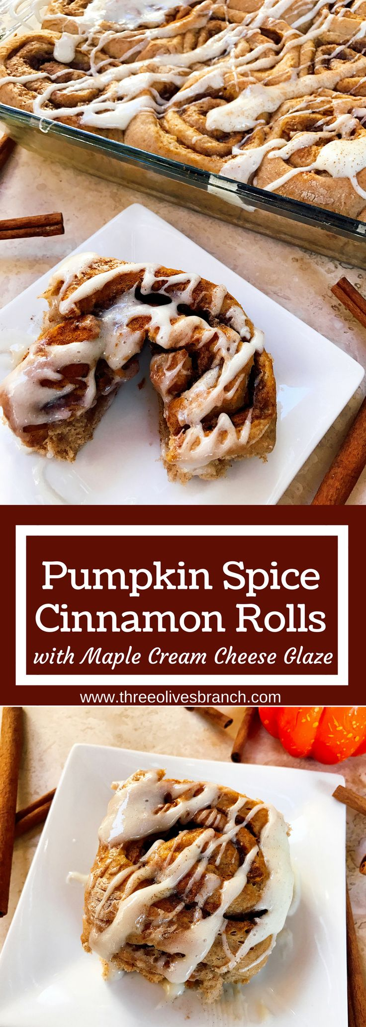 These rolls are a special treat to celebrate fall! Make them the day before for an easy morning. A great way to celebrate Thanksgiving or a special day. Pumpkin Spice Cinnamon Rolls with Maple Cream Cheese Glaze are perfect for breakfast or brunch. Make extra as they will be devoured! Vegetarian   Three Olives Branch   www.threeolivesbranch.com