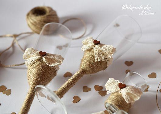 Ślub - inne-Zestaw 2 kieliszków do szampana rustykalnych