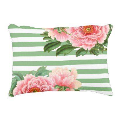 Pink Peonies Green Stripes Decorative Pillow - romantic gifts ideas love beautiful