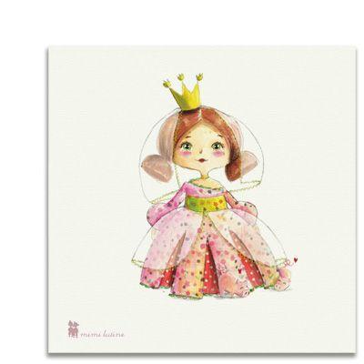 Original cuadro con el motivo de una pequeña princesa  para decorar la habitación de los niños. Incluye colgador.