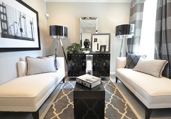 perfect lounge area: Chai Lounges, Living Rooms, Black White, Small Rooms, Colors Schemes, Small Spaces, Rugs, Diy Curtains, Sit Rooms