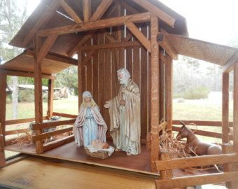 Wood Nativity Stable Creche by TheMomandPopWoodshop on Etsy