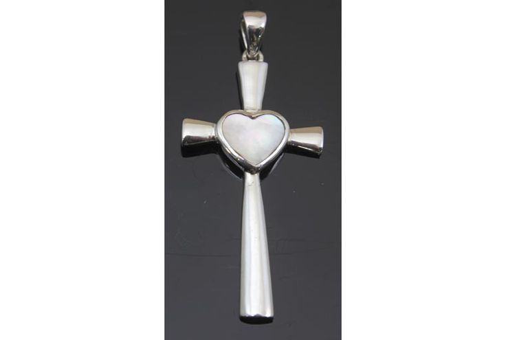 Cross Mother of Pearl Heart Pendant Sterling Silver