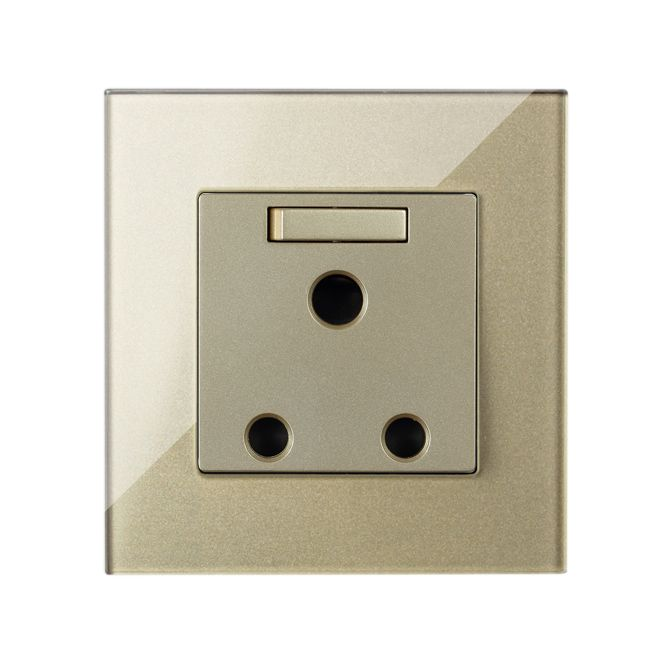 MVAVA 15A Switched Outlets 1 Gang Switch Wall Socket South Africa Standard 3 Pin Plug Luxury Gold Crystal Glass Free Shipping