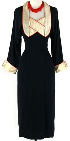 1940s- Navy blue rayon cocktail dress with red piped ivory silk dupioni accents and rhinestone buttons, by Sans Souci NY, American, 1940s.