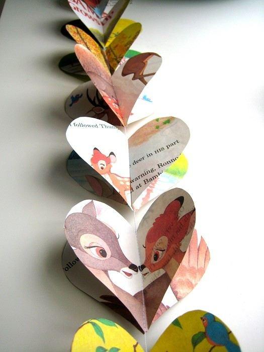 heart ♥ hart #valentine #diy cute! vintage bambi garland - leuk om te maken van oude kinderboeken, stripboeken, etc. van de kringloop