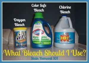 What types of things each category of bleach can be used for, for stain removal and cleaning.