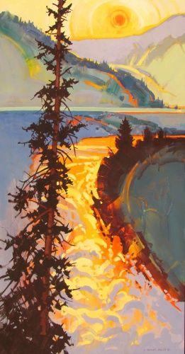 Smokey Sky  by Stephen Quiller #tree #landscape #art
