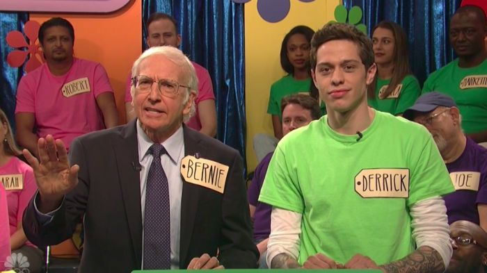 """Larry David hosted the Nov. 5 episode of """"Saturday Night Live"""" and it didn't take long for him to bust out his Bernie Sanders impression. In the first sketch after his opening mon…"""