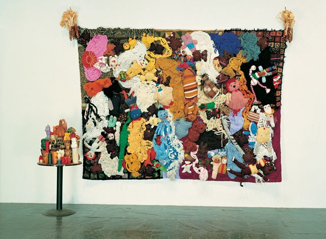 Mike Kelley, More Love Hours Than Can Ever Be Repaid (on wall) with The Wages of Sin, 1987, Whitney Museum of American Art, New York