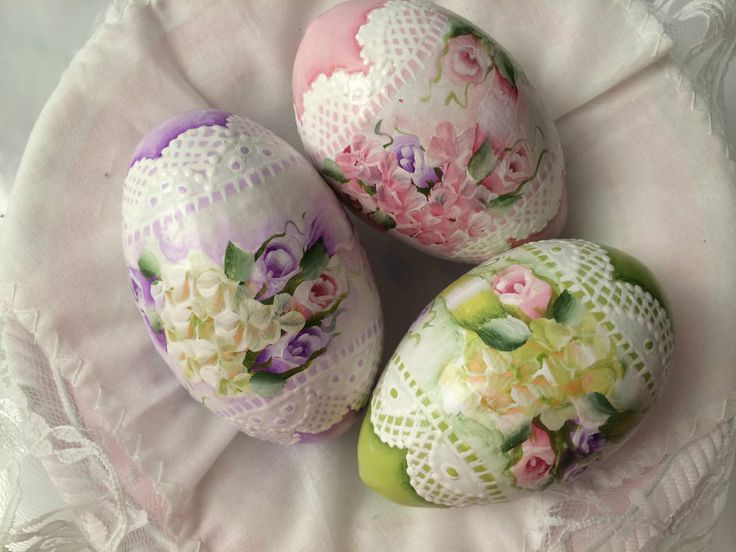 Hand Painted Easter Eggs Gourds Cottage Chic Peach Rose Victorian Shabby HP Lace